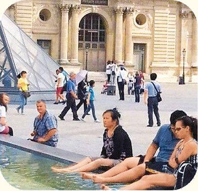 bain de pied touristes chinois